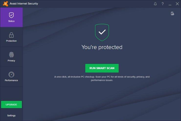 Avast internet security scan PC